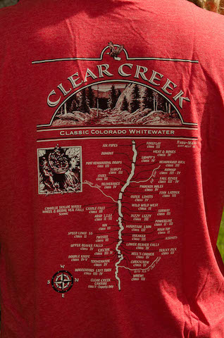 Clear Creek Map – $20.00 each Sizes: Sm – XXL Colors: Heather Red & Asphalt Grey