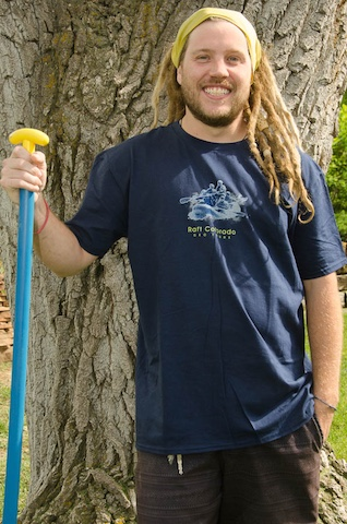Georafting No I in Team T-shirt, Navy blue color with white and lemon trim. $20.00 available small thru extra-extra large.