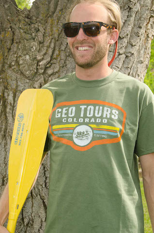 Georafting Guide T-shirt, green color with orange trim. $20.00 available small thru extra-extra large.