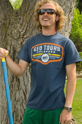 Georafting Guide T-shirt, heather blue color with orange trim. $20.00 available small thru extra-extra large.